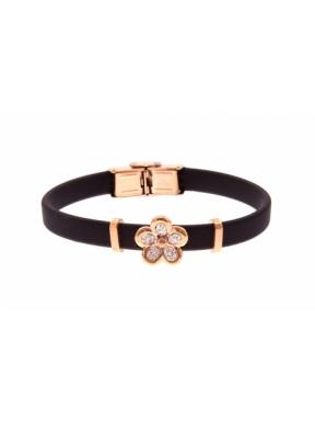 Pulsera Fretsa caucho negra flor cobre